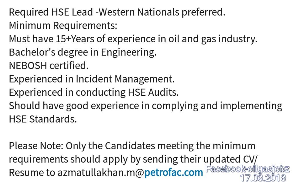 HSE Lead NEBOSH Certified