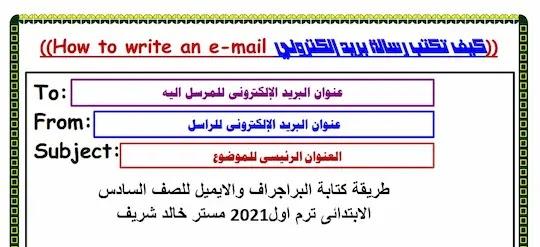 طريقة كتابة البراجراف والايميل للصف السادس الابتدائى ترم اول2021 مستر خالد شريف