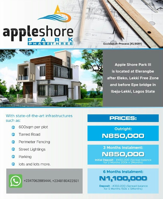 APPLE SHORE PARK 3,  ELERANGBE, IBEJU LEKKI, LAGOS (LAND FOR SALE)