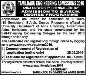 Anna University B.Arch Admission Notification 2016