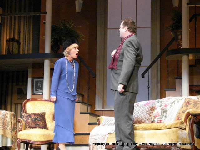 Patricia Hoffman and Richard Michael Roe in THE ROYAL FAMILY - December 2011.  Property of The Schenectady Civic Players Theater Archive.