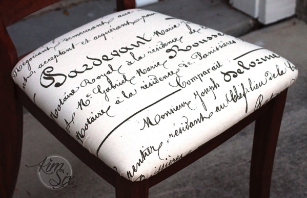 French script fabric for chair seat