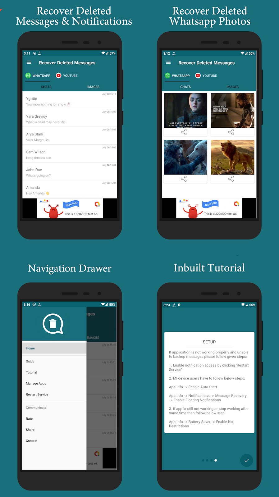 Recover Deleted Messages Android App with Admob Integration - 1