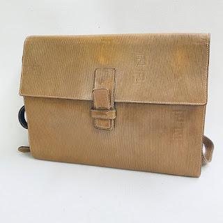 Fendi Vintage Brown Leather Crossbody Bag