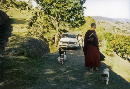 Zina Rachevsky (Lama Yeshe and Lama Zopa Rinpoche's first Western student) walking up Kopan Hill, Nepal, 1972. Zina helped the Lamas found what would later come to be known as Kopan Monastery. Photo courtesy of Lama Yeshe Wisdom Archive.