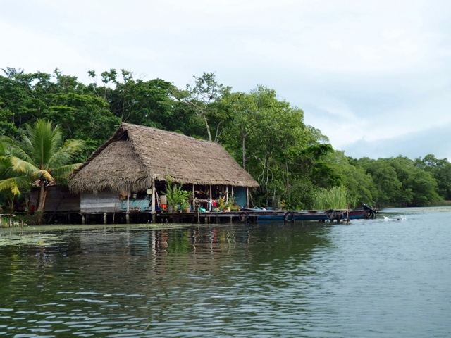 Local house on the shore of Lake Izabal, Guatemala