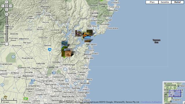 Localisation des photos au nord de Sydney