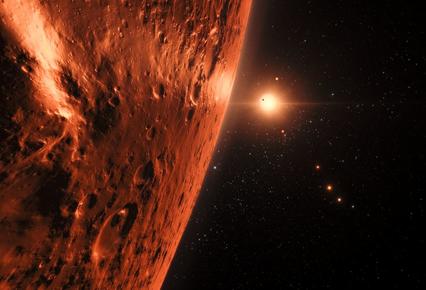 ilustração mostrando a superfície de um dos planetas do sistema TRAPPIST-1