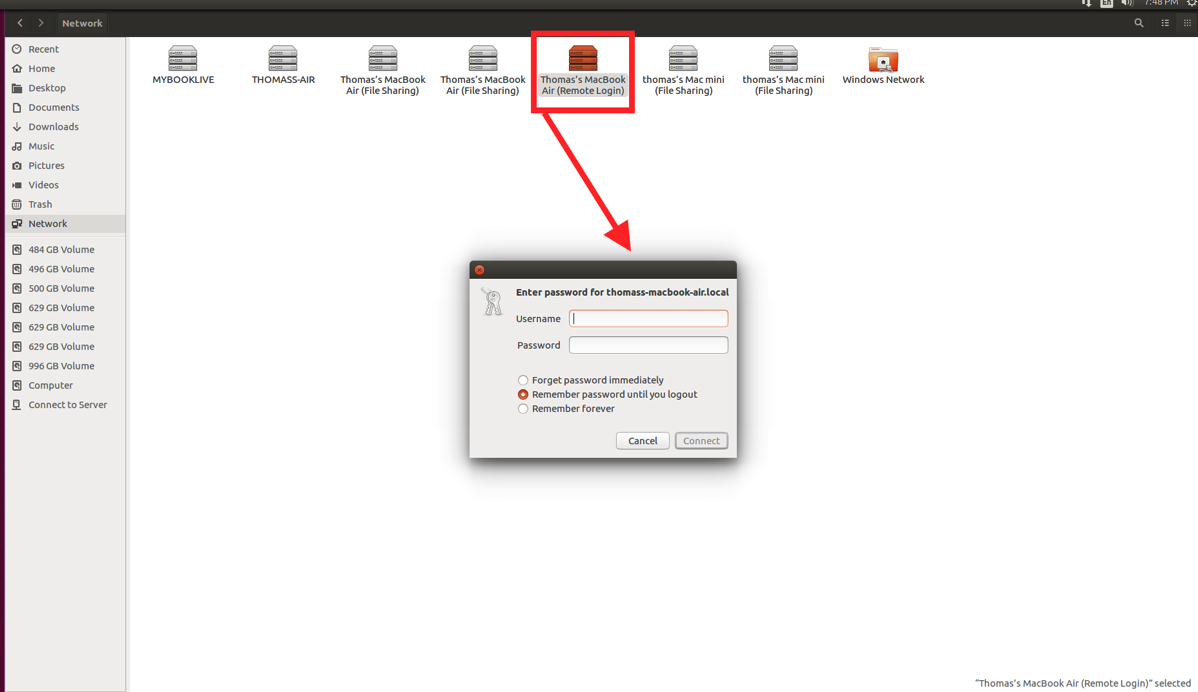 Nautilus File Manager showing Remote Login two line dialog to log in