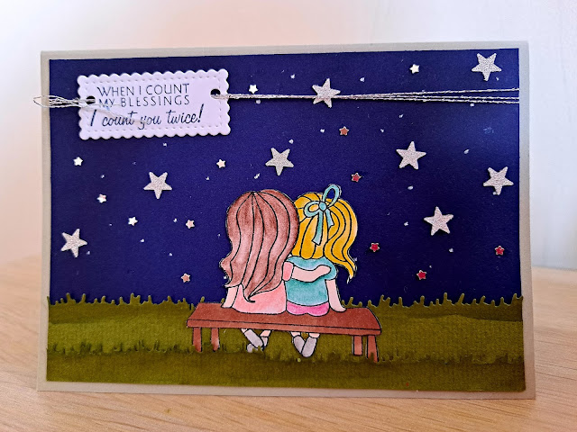 Love Cynthia stamps for starry night background cards about friendship