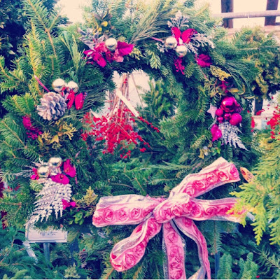 Pink and Glitter decorated holiday wreath inspired by Tori Amos
