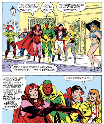 Wanda tells Vision how much she loves Halloween and dressing up in evening gloves in a 1985 comic