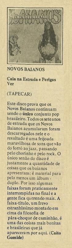 Novos Baianos, Caia na estrada e perigas ver - Jornal de Música 1976-11 - KG