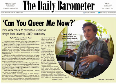 Headline 'Can You Queer Me Now?' Barometer May, 8, 2015, p.1