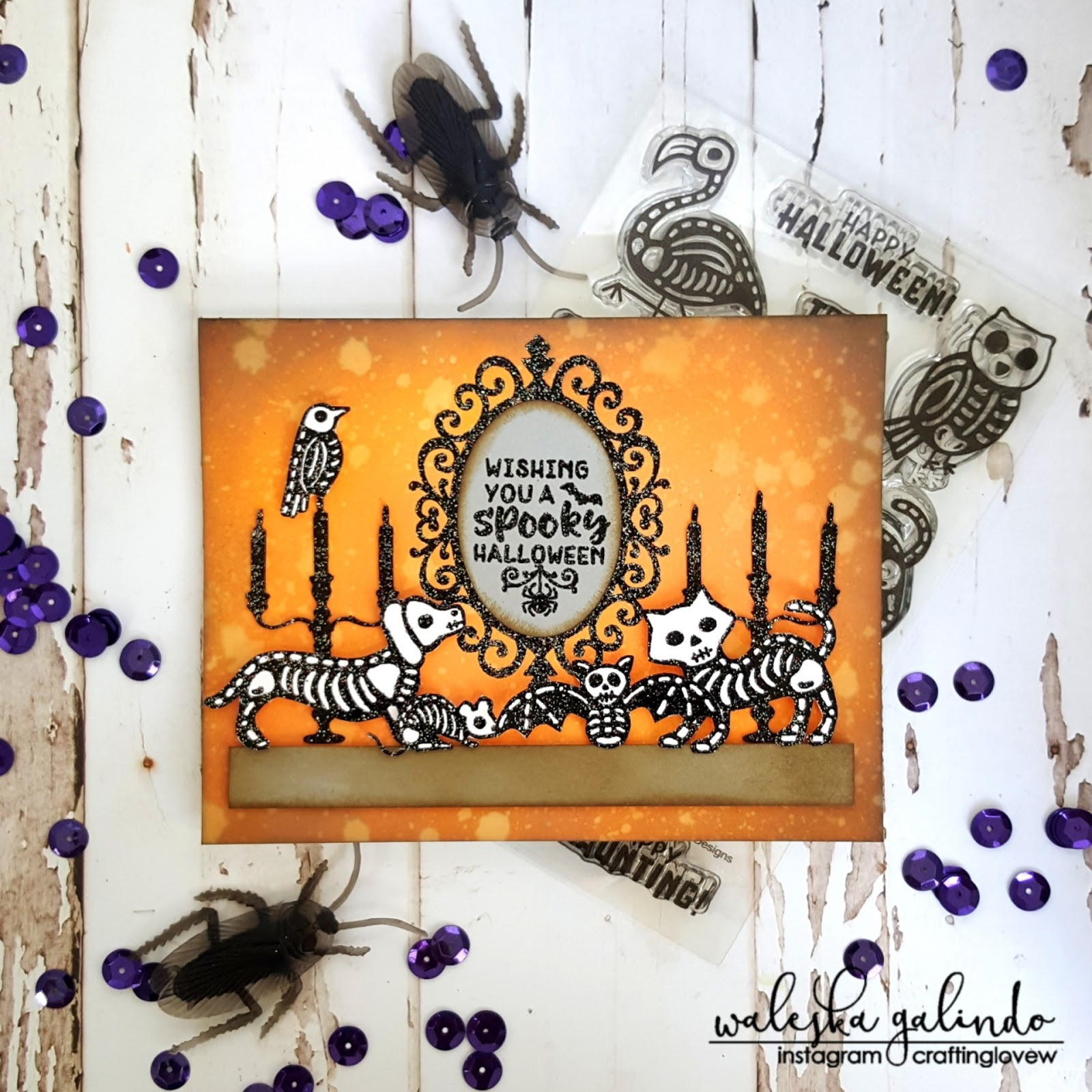 Spooky Halloween Wishes by October Guest Designer Waleska Galindo   Spooky Skeletons and Creepy Cameo Stamp Sets by Newton's Nook Designs #newtonsnook