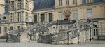 Cour d'honneur : escalier à double rampe