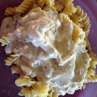 Crock-Pot Creamy Italian Chicken Over Pasta.