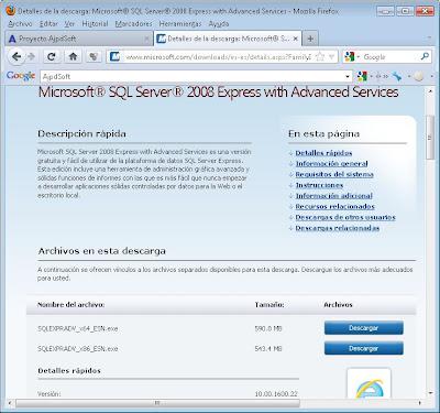 Descarga del fichero instalador de Microsoft SQL Server 2008 Express