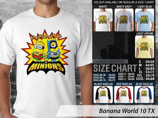 Kaos Kartun Minions Banana World 10 distro ocean seven