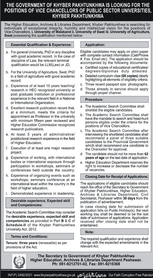 KPK Higher Education, Archives & Libraries Department Peshawar Jobs May 2021