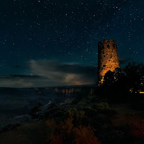 Watch Tower by CEBImagery .com - Landscapes Starscapes ( twoer, sky, desert, grand, watch, stars, arizona, canyon, night, view,  )