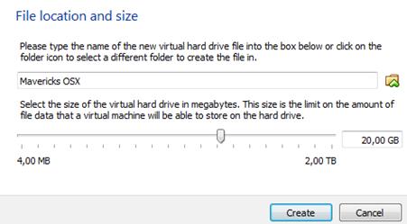 Menentukan kapasitas hard disk virtual