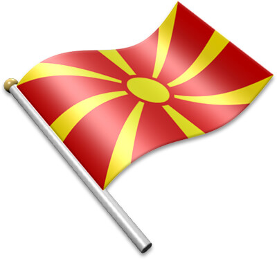 The Macedonian flag on a flagpole clipart image