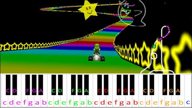Rainbow Road Mario Kart 64 Piano Letter Notes