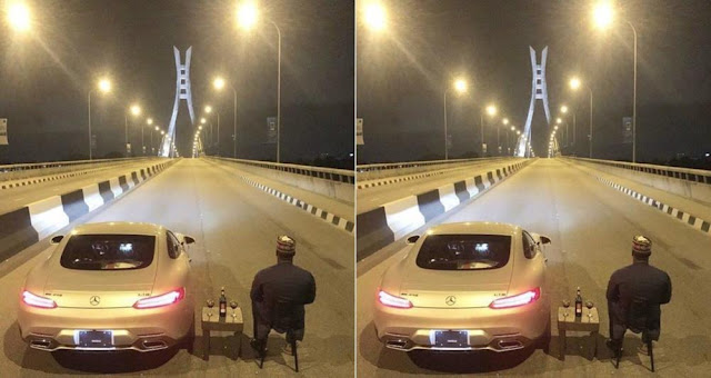 Man Chilling in The Middle of The Road on Lekki-Ikoyi Link Bridge (Photos)