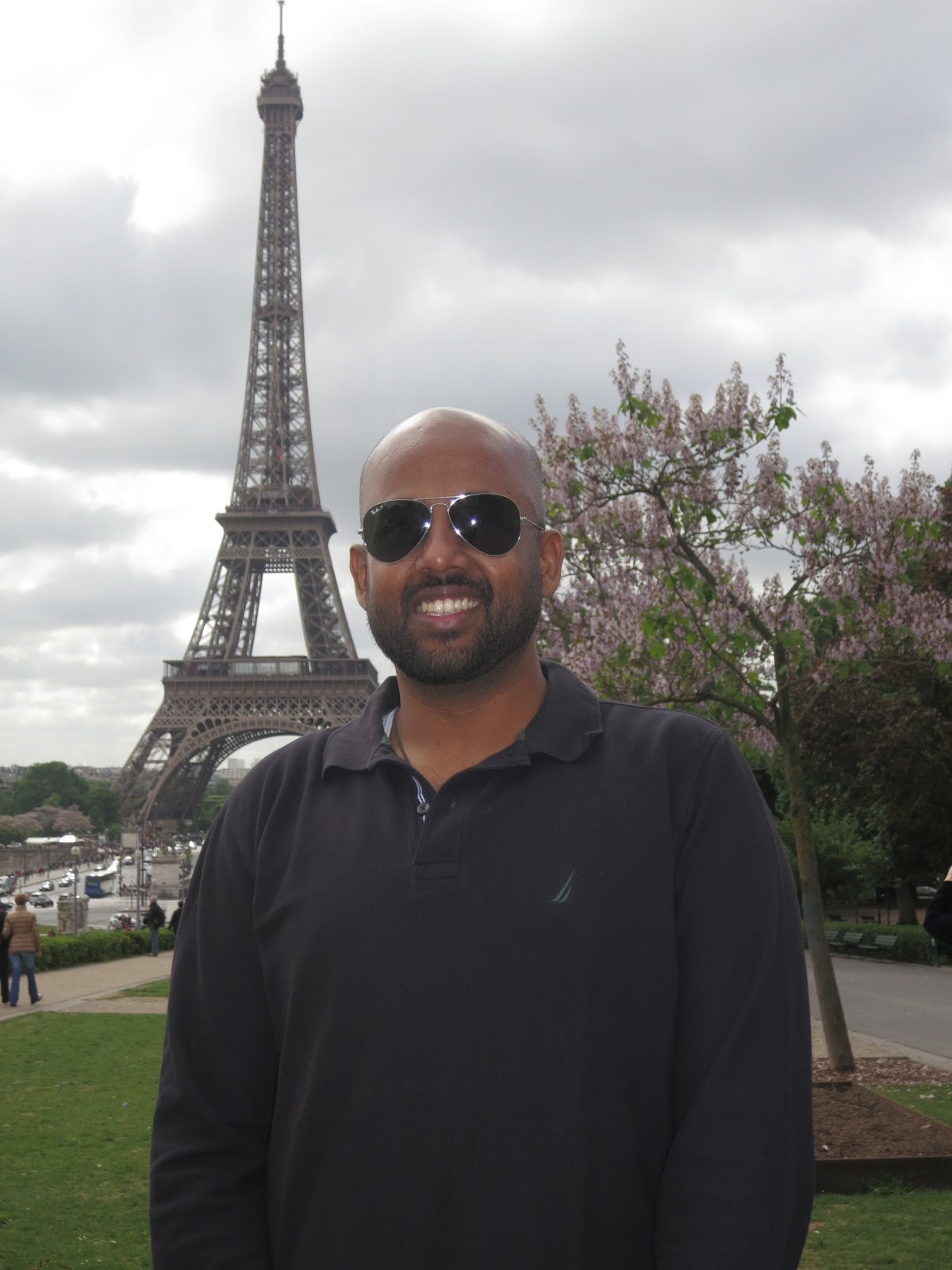 In front of the Eiffel tower at Paris, France