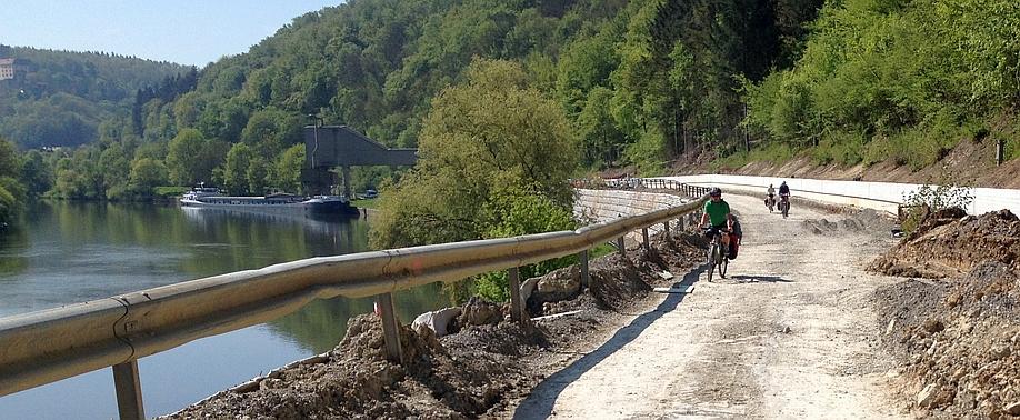 Baustelle auf dem Neckar-Radweg zwischen Eberbach und Bad Friedrichshall