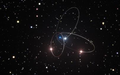 órbitas de 3 estrelas próximas do Centro Galáctico
