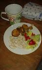 Naše véča - americké brambory, kuřecí kousky a spousta zeleniny