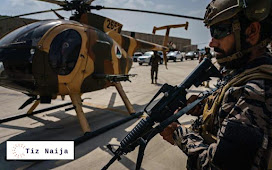 Taliban fighters flies in U.S made black Hawk Helicopter in celebration of the departure of the troops | Tiz Naija