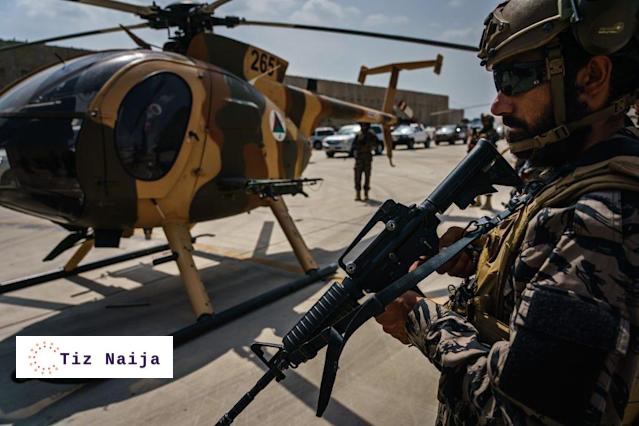 Taliban fighters flies in U.S made black Hawk Helicopter in celebration of the departure of the troops   Tiz Naija