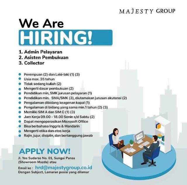 Lowongan Kerja Majesty Group membuka posisi Admin dan posisi Lainnya