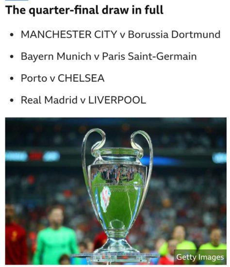 European champions league quarter final draws