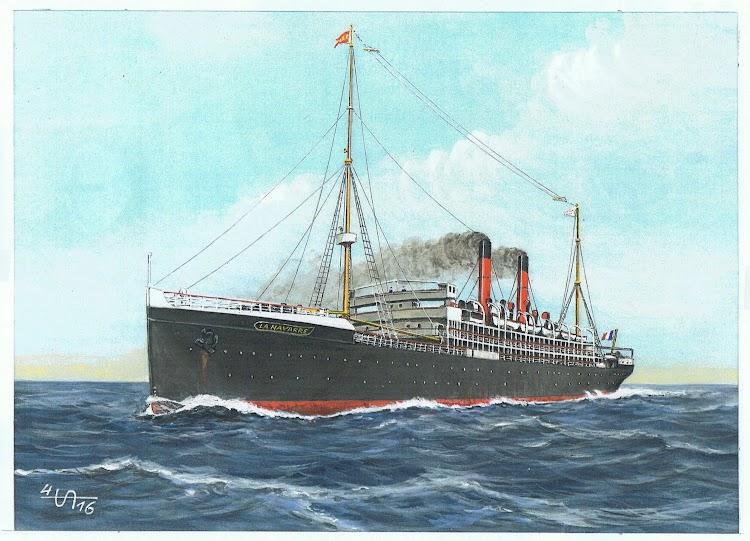 Excelente acuarela del vapor LA NAVARRE. Autor Henry Albrecht dedicada especialmente a Arturo Paniagua.jpg