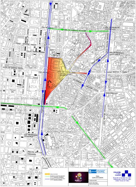 Final Eurocopa 2012, plan de movilidad y seguridad en Madrid - Pincha en el plano para verlo ampliado