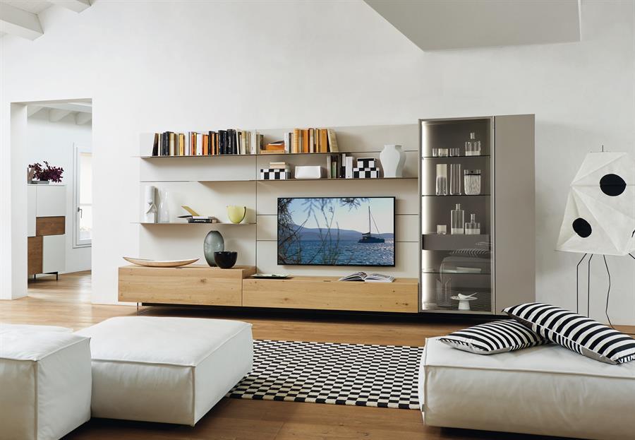 mobili moderni da soggiorno Lampo rovere nodato con boiserie laccata ...