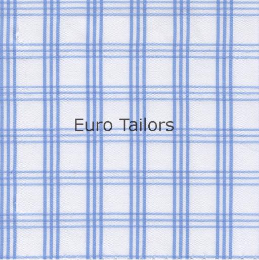 Vollzwirn-Hemd bügelfrei Hellblau kariert
