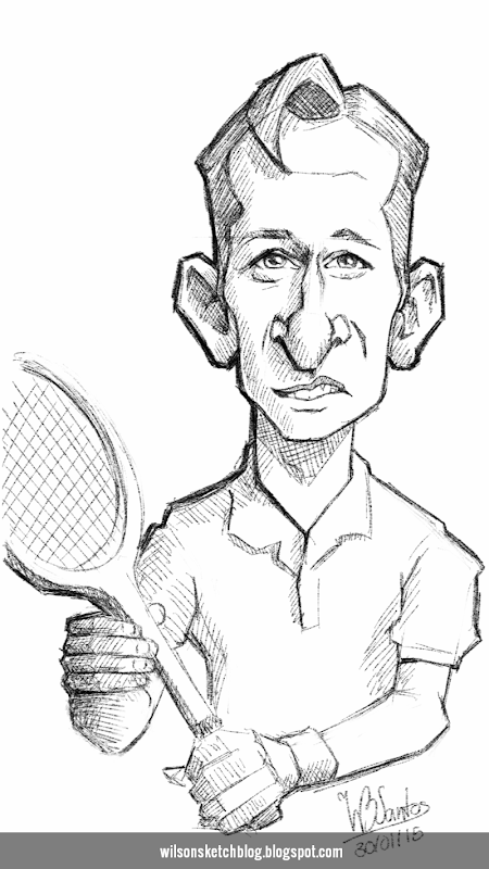 Caricature sketch of Rod Laver.