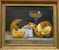 Still Life vintage frame wine food candy sweet fruits oranges