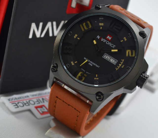 Jual jam tangan NAVIforce brown leather yellow