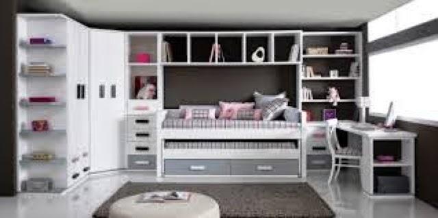 Cama compacto lacada blanca y gris con dos cajones abajo - Habitacion juvenil nino ...
