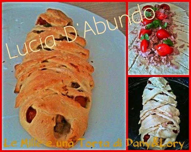 treccia di pizza ripiena con tonno e pomodorini