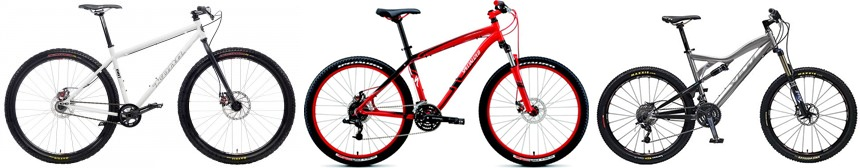 Dari kiri ke kanan : Fully Rigid, Hardtail, Full Suspension