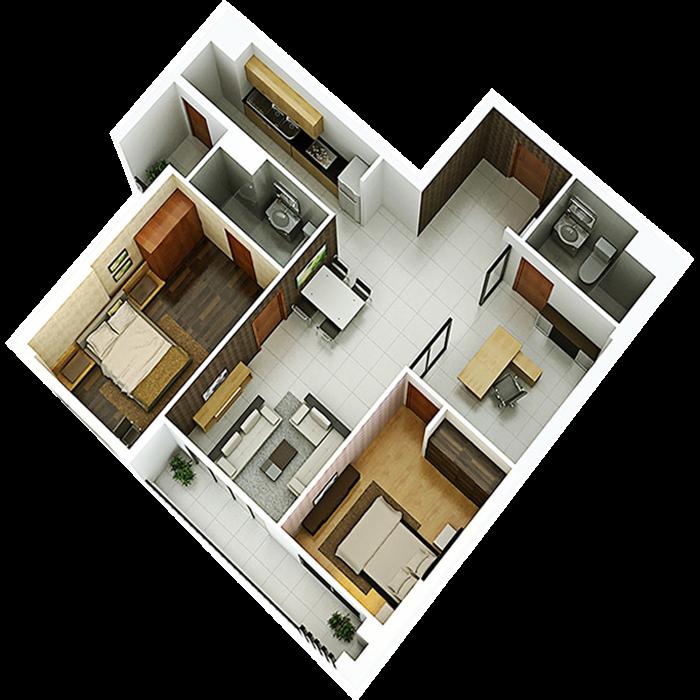 căn hộ 98.56m² - 2 Phòng ngủ