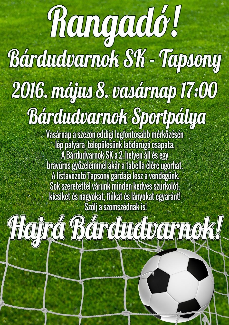 Bárdudvarnok - Tapsony rangadó futball plakát