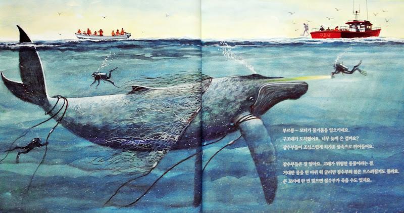 고래가 그물에 걸렸어요